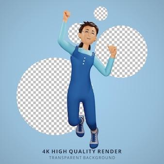 Jong meisje met bril gelukkig springen 3d karakter illustratie