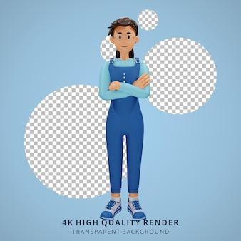 Jong meisje met bril vouwen armen 3d karakter illustratie