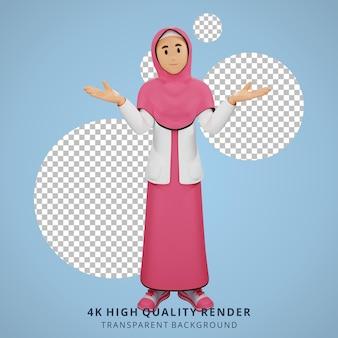 Jong moslimmeisje weet niets 3d karakter illustratie
