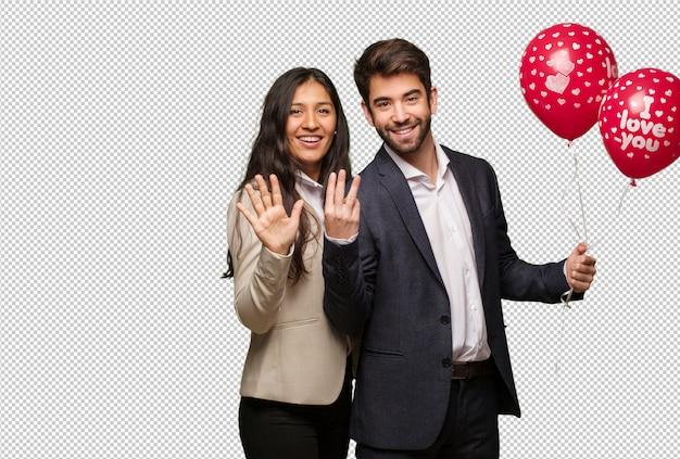 Jong paar in valentijnsdag met nummer acht