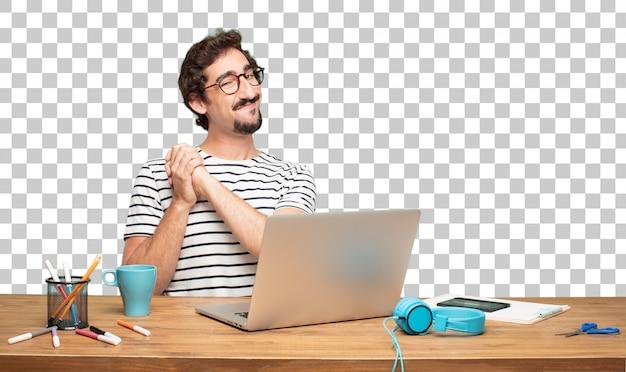 Jonge, bebaarde man grafisch ontwerper. triomf teken concept