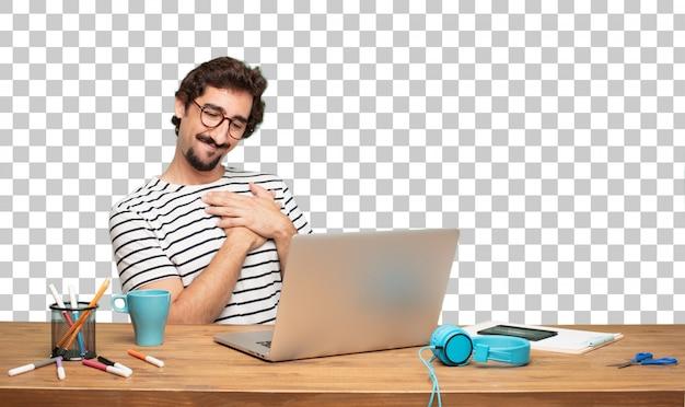 Jonge, bebaarde man grafisch ontwerper. . verliefd concept
