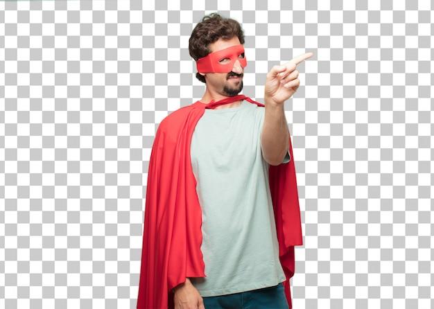 Jonge gekke superheld man afwijzing teken