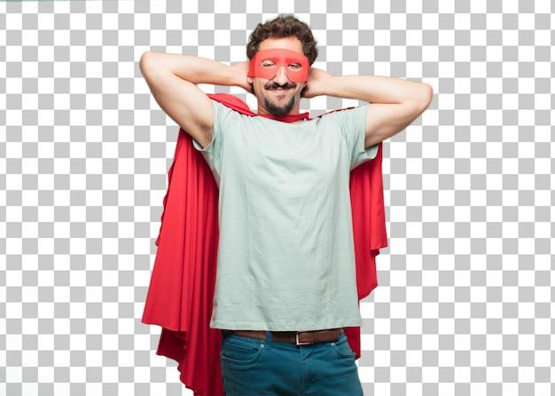 Jonge gekke superheld man tevredenheid expressie