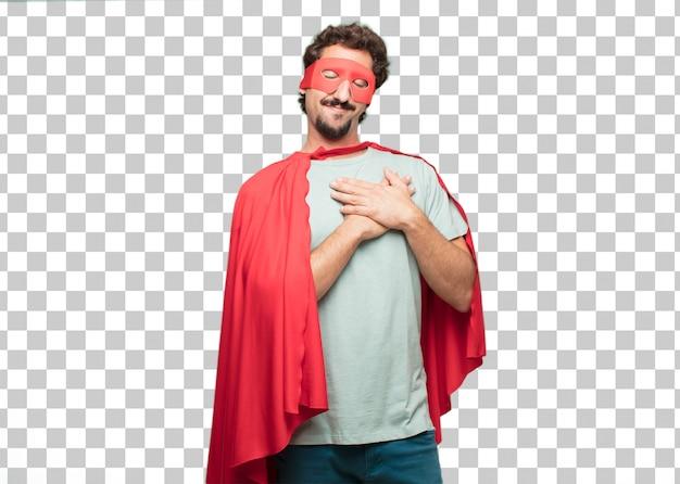 Jonge gekke superheld man. verliefd concept