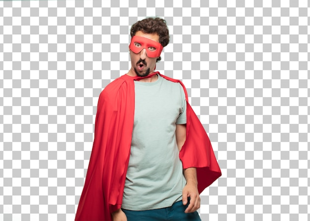 Jonge gekke superheldenman verbaasde of schokte uitdrukking