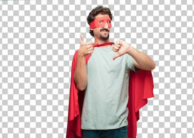 Jonge gekke superheldenmens verwarde uitdrukking