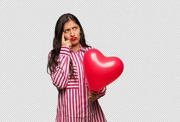 Jonge indiase vrouw vieren valentijnsdag