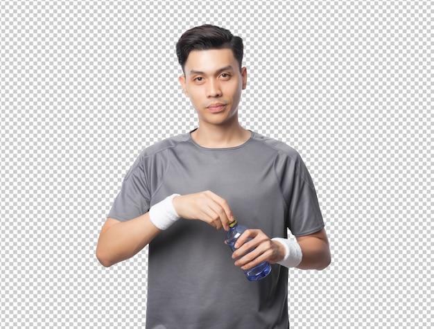 Jonge knappe aziatische sport man met fles water