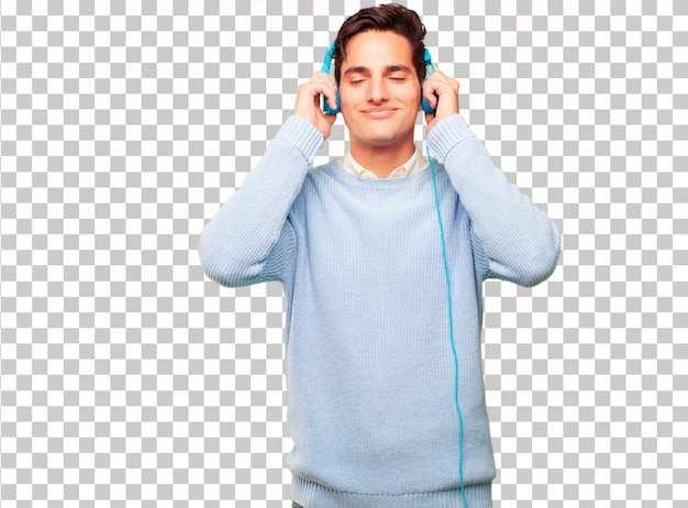 Jonge knappe gebruinde man luisteren muziek met een koptelefoon