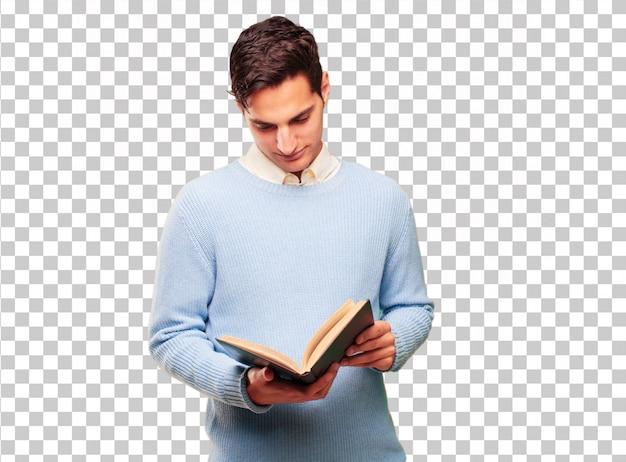 Jonge knappe gebruinde man met een boek