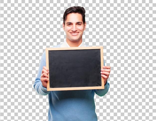 Jonge knappe gebruinde man met een bordje