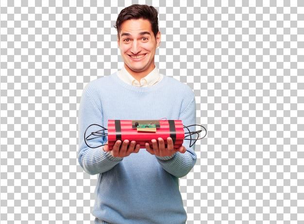 Jonge knappe gebruinde man met een dynamiet bom