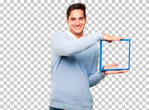 Jonge knappe gebruinde man met een frame