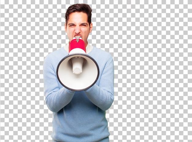 Jonge knappe gebruinde man met een megafoon