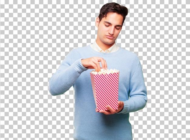 Jonge knappe gebruinde man met een pop corn emmer