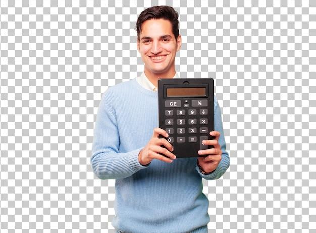 Jonge knappe gebruinde man met een rekenmachine