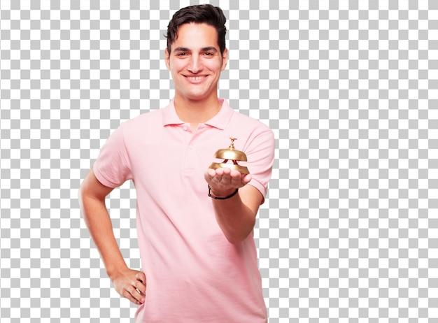 Jonge knappe gebruinde man met een ringbel