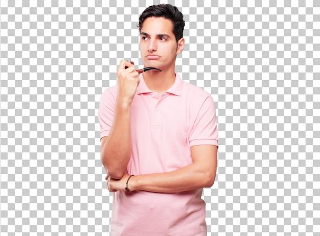 Jonge knappe gebruinde man met een rook vintage pijp