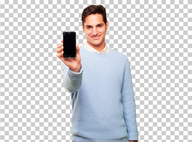 Jonge knappe gebruinde man met een slimme touchscreen telefoon