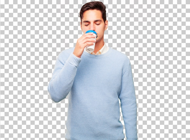 Jonge knappe gebruinde man met een take-away koffie