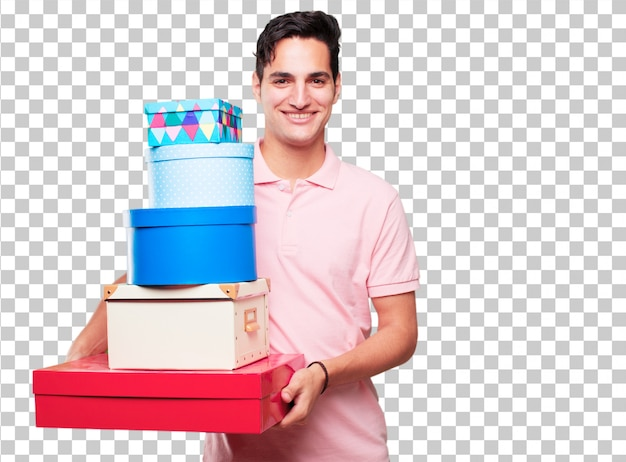 Jonge knappe gebruinde man met geschenk doos concept