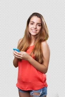 Jonge leuke vrouw met behulp van haar mobiel