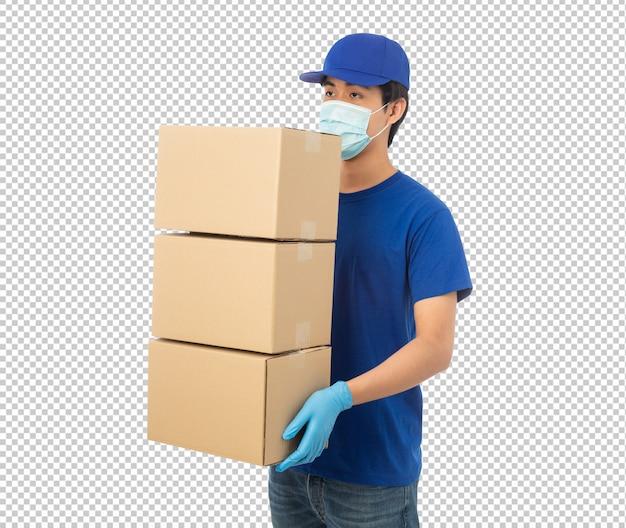Jonge levering man met papieren kartonnen doos mockup