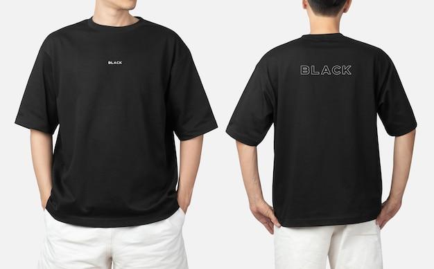 Jonge man in oversized t-shirt mockup psd, sjabloon voor uw ontwerp.