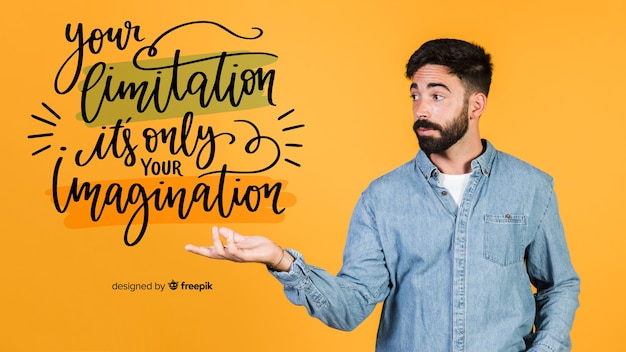 Jonge man met een motiverende citaat