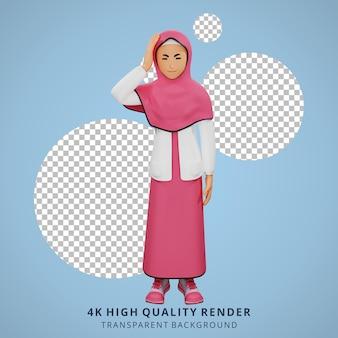 Jonge moslim meisje duizelig 3d karakter illustratie