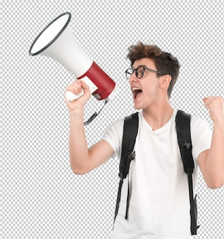 Jonge student met behulp van een megafoon