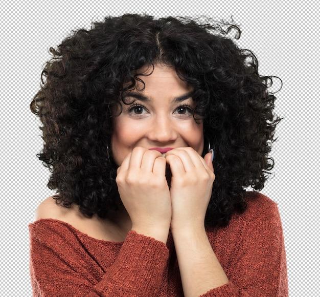 Jonge vrouw bang en nerveus