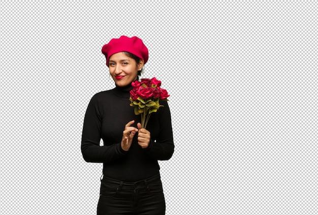 Jonge vrouw in valentijnsdag die een plan ontwerpt