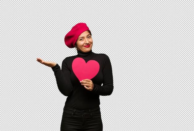 Jonge vrouw in verward en twijfelachtige valentijnskaartendag