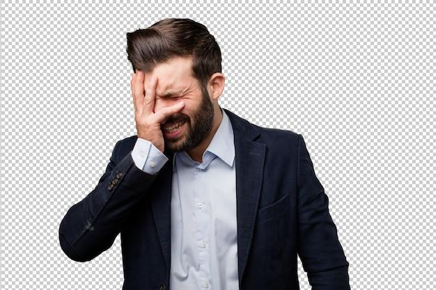 Jonge zakenman huilen