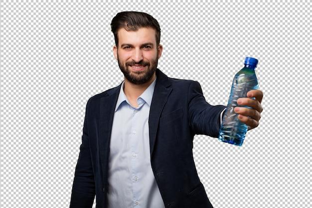 Jonge zakenman met een mobiele telefoon