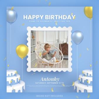 Jongen gelukkige verjaardagstaart uitnodigingskaart voor blauwe instagram social media postsjabloon met mockup