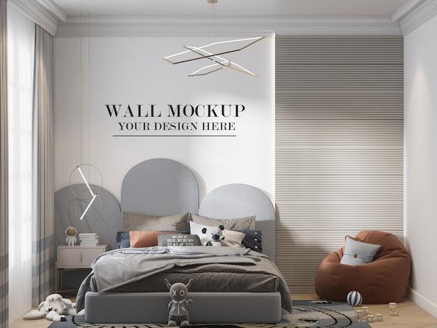 Jongen slaapkamer muur sjabloon in 3d-rendering