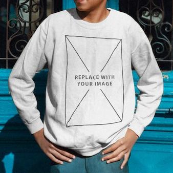 Jongen sweatshirt sjabloon mockup
