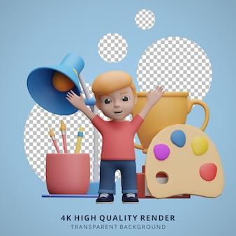 Jongen terug naar school mascotte 3d karakter illustratie gelukkig