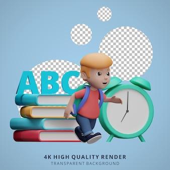 Jongen terug naar school mascotte 3d karakter illustratie run