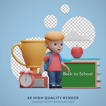 Jongen terug naar school mascotte 3d karakter illustratie
