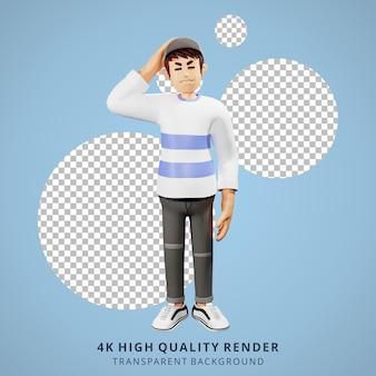 Jongeren duizelig 3d karakter illustratie