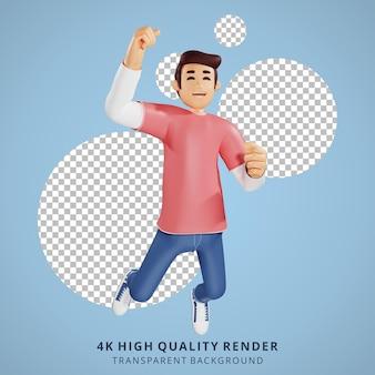 Jongeren gelukkig springen 3d karakter illustratie