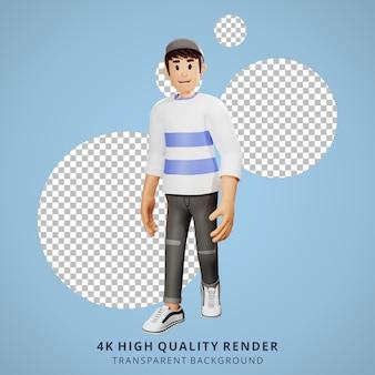 Jongeren lopen 3d karakter illustratie