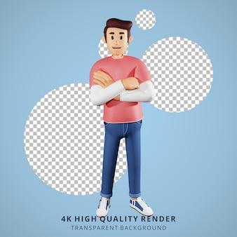 Jongeren vouwen armen 3d karakter illustratie