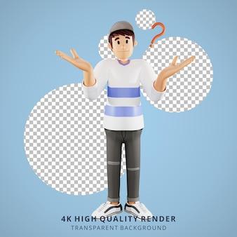 Jongeren weten niets 3d karakter illustratie