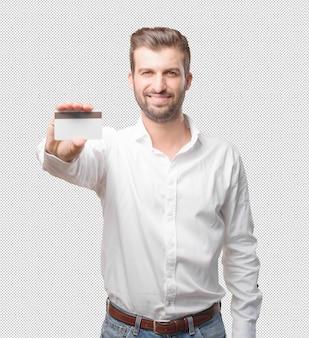 Jovem, bonito, homem, com, cartão crédito