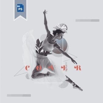 Joven bailarina hermosa que presenta la naturaleza cubierta elegante y elegante estilo